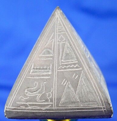Vintage Hand Carved Soap Stone Pyramid w Egyptian Hieroglyphs. Magic Paperweight