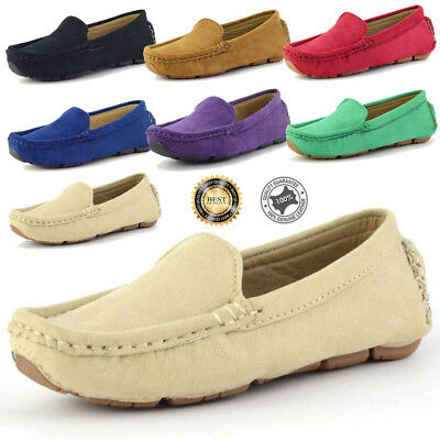 Boy's Slip On Casual Loafers  Round crumby Toe Flats Genuine Suede Shoes
