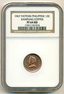 Philippines 1967 10 Centavos Pattern Sampung Copper PF64 RED NGC Scarce
