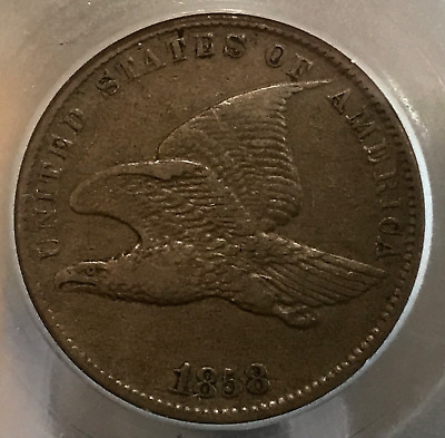 1858 1c Flying Eagle Cent Small Letters VF++