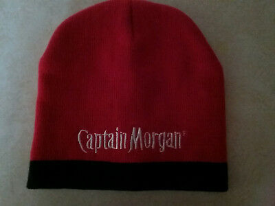 Red Captain Morgan Knit Cap Hat Skull Beanie Like New Condition