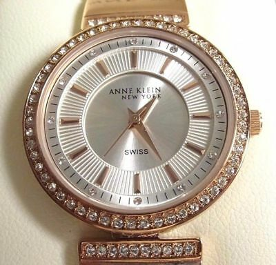 Anne Klein Women's 12/2258SVRG Crystal Accented Rose Gold Tone Watch/100%authent