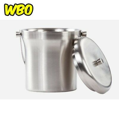 Double Wall Ice Bucket Stainless Steel Home Kitchen Tabletop Drink Barware Tool