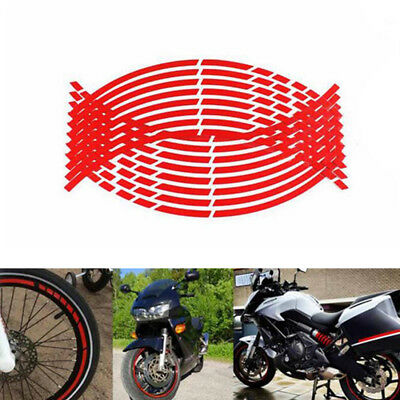 1x Wheel Rim Sticker Tape Decal 17 or 18 inch Motorcycle 16 Strips RED New