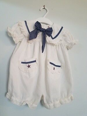 Vintage Baby Girls Boutique 12 Month Embroidered Lace Romper Outfit!!