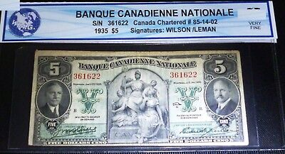 1935 $5 Banque Canadienne Nationale