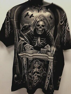 Grim Reaper book of Doom  image print Black 100 cotton t-shirt sizes  3XL