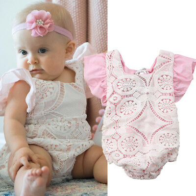 Newborn Infant Baby Girls Lace Romper Bodysuit Jumpsuit Outfits Clothes Sunsuit