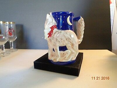 Coyote Howling Stein Hand Painted Ceramic Mug Cup