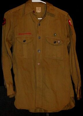 Boy Scouts Of America Army Green Color Button Up Long Sleeve Collared Shirt # 2