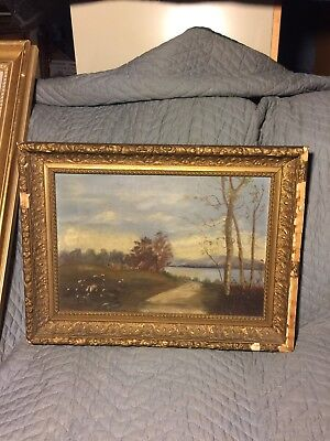 Antique Farm Scene Original Framed Oil On Canvas Painting Frederick Md Found