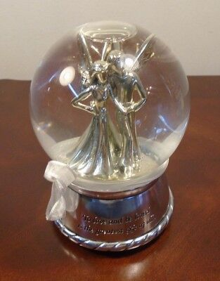 Silver Winged Couple Musical Snow Water Globe Angels Fairies Anniversary Wedding