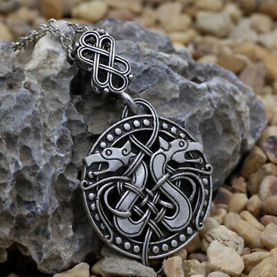 Norse Viking Celtic Knots Dragon Pendant Necklace Nordic Jewelry Charm Amulet