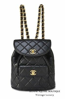 4f09df37aeb0 Chanel Vintage Black Quilted Chain Drawstring Backpack Bag ** Harrods **