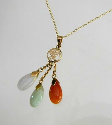 Vintage Solid 14K Gold 3 Natural Jadeite Love Pendant with Tiny Chain