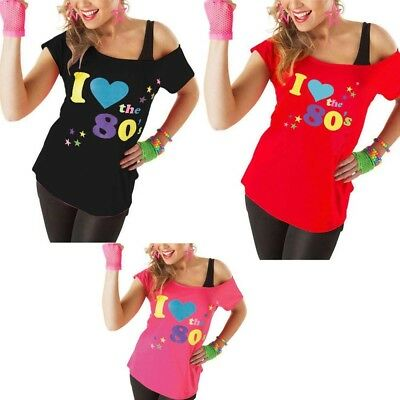 Womens Ladies I Love The 80s T-Shirt Fancy Dress Costume Neon Festival Outfit UK