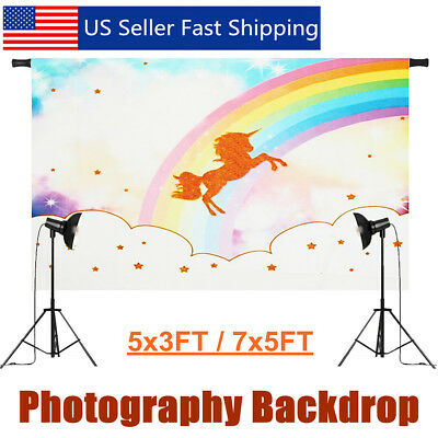 7x5ft 5x3ft Rainbow Sky Unicorn Baby Photo Background Vinyl Photography Backdrop