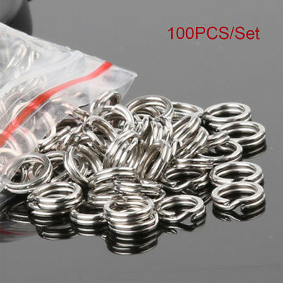 Hot 100PCS Fishing Solid Stainless Steel Snap Split Ring Lure Tackle Connector