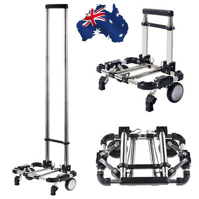 AU Foldable Shopping Trolley Aluminum Collapsible Luggage Cart Hand Travel Truck