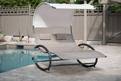 double chaise lounge rocker chair daybed hammock outdoor pool patio dual seat double chaise rocker patio furniture seat chair canopy pool swing      rh   picclick