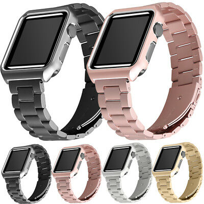 Stainless Steel Wrist Iwatch Band Strap +Case Cover for Apple Watch Series 3/2/1