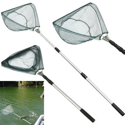 Lightweight Fishing Triangular Mesh Landing Net Telescopic Pole Folding Handle