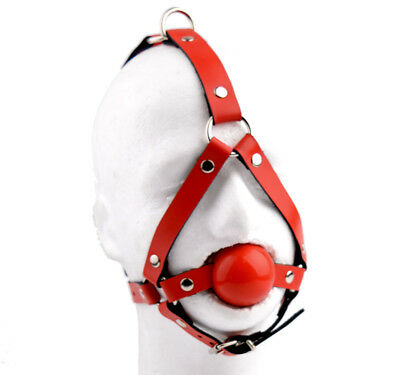 DELUXE AMERICANA RED Leather Ballgag harness ball gag Mercy Industries ga15RdRd