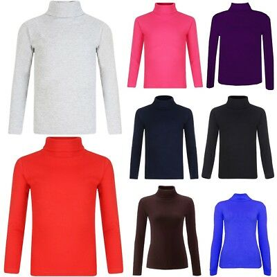 Girls Kids Plain Polo Neck Top Boys Long Sleeve Turtle Jumper Tops 5-13 Years
