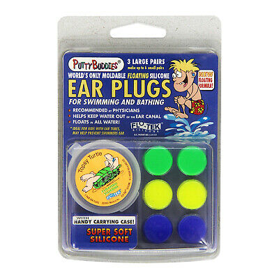 Putty Buddies Super Soft Silicone Floating Ear Plugs 3 Pack Swimming Bathing