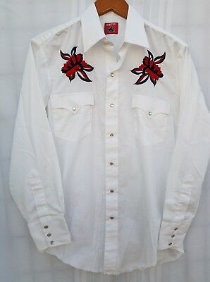 Vintage Mens Chute #1 Western Embroidered Pearl Snap Shirt Medium White Red Blue