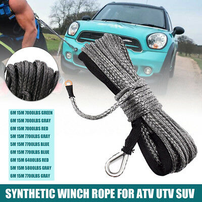 5/6mm x15m Synthetic Winch Line Cable Rope With Sheath SUV ATV Off-road Vehicle