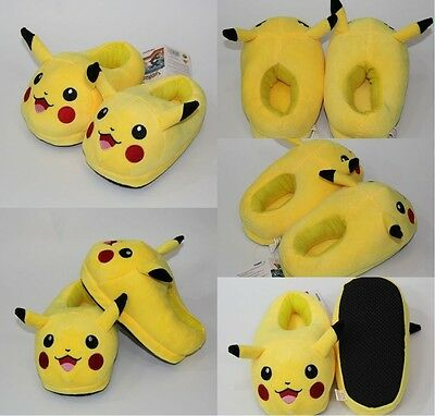 Anime Pokemon Pikachu Plush Home Winter Kids Slippers Indoor Soft Cute Shoes 9""