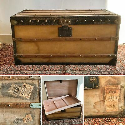 malle valise de voyage ancienne en bois eur 40 00 picclick fr. Black Bedroom Furniture Sets. Home Design Ideas
