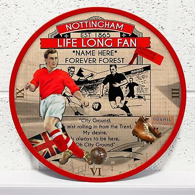 Personalised Nottingham Forest Vintage Football Retro Wall Clock Dad Gift VFC44