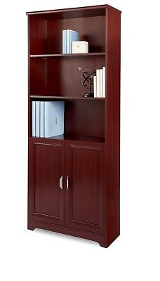Realspace Magellan Collection 5-Shelf Bookcase With Doors, Classic Cherry