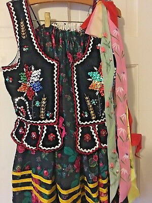 Authentic Handmade Vintage Polish Folk Costume with Beaded Vest, Size S