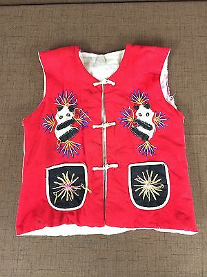 Children's Handmade Vintage Vest Panda Bear Multi Color Small Childs Old Unique