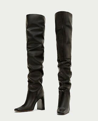 785b1562553 Zara New Over The Knee High Heel Leather Boots Black Wide Leg Square Size 2-