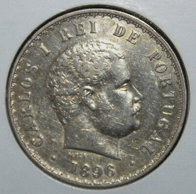Portugal 500 Reis 1896 Extremely Fine +++ Silver Coin - King Carlos I