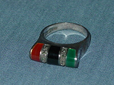 Vintage Art Deco Style Sterling Silver 925 Ring 3 Stone w/ Marcasites Size 10 ND