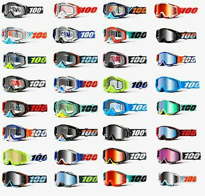 100% RACECRAFT Goggles -ALL COLORS- Offroad MX Motocross - CLEAR OR MIRROR LENS