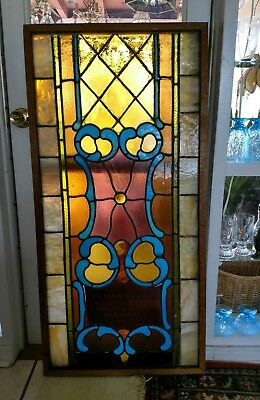 Large Antique Stained Glass Leaded Church Memorial Window
