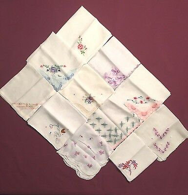 Lot of 11 Vintage Embroidered Handkerchiefs Hankies Applique Lace