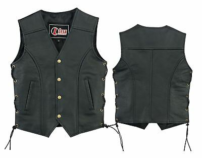 Real Leather kids vest with lace up sides