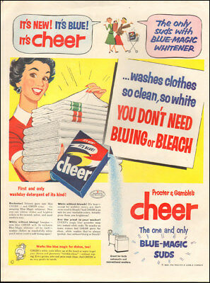1954 Vintage ad for Cheer detergent `art red dress towels.  (020518)