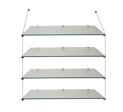 suspended Cable display retail shop shelves office wall hanging glass shelf SET