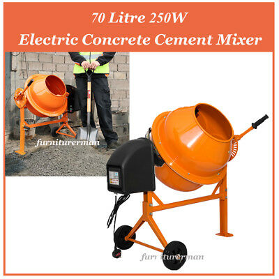 Electric Cement Mixer 70 L 250W Portable Concrete Mortar Mixing Machine 240V UK