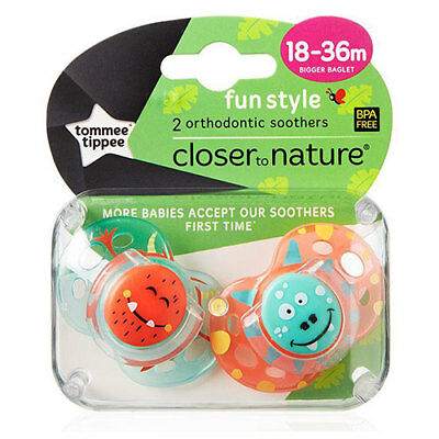NEW Tommee Tippee Closer to Nature Fun Style Soothers 18-36 Months - 2 Pac