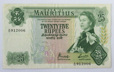 Mauritius 25 Rupees 1967 Banknote Queen Elizabeth in XF- Condition