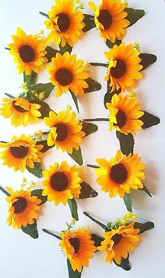 Bundle of 14 sunflower large corsages wedding boutonniere groom flowers job lot